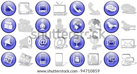 A collection of sixteen blue and white communication icons / Communication icons set