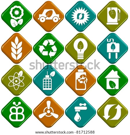 A collection of sixteen white eco icons with 3D background / Ecological icons