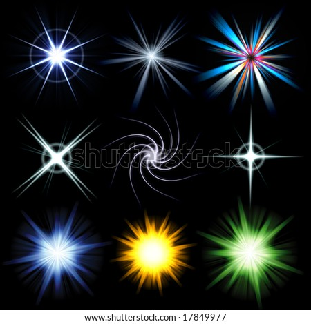 A collection of star bursts and abstract lens flares.  Use these as accents in your designs. Larger versions of each are also available in my portfolio.