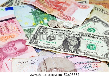 A collection of various currencies
