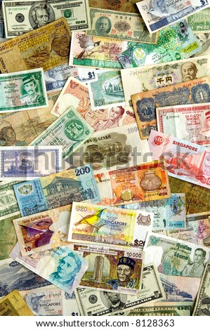 A collection of various currencies from countries spanning the globe.