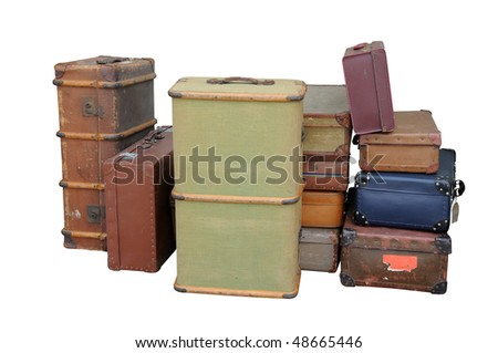 A collection of vintage suitcases, isolated on a pure white background