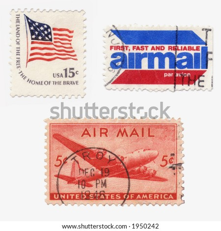 A collection of vintage US stamps: airmail,old glory flag...