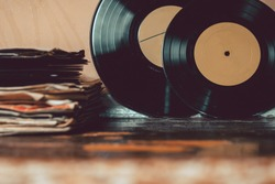 A collection of vinyl records. vintage toning