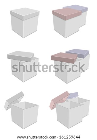 A collection of white boxes with different lid positions / White boxes