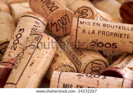 a collection of wine corks