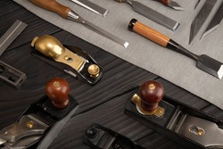 A collection of woodworking tools, Japanese and traditional European combination, which is typical for the modern woodworker.