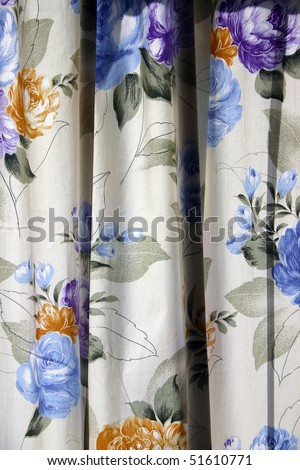 A color flower window curtain as background or texture.