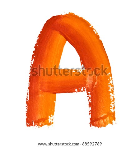 A - Color letters isolated over the white background