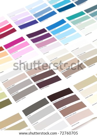 A color paint chart showing modern colors