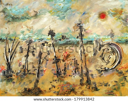 A colorful abstract/surreal  painting, with landscape elements and a mysterious and unresolved foreground