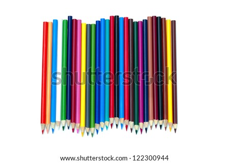 A colorful arrangement of pencil crayons on a white background.