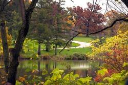 A colorful autumn landscape overlooking Lake Marmo onto a road leading through the fall colors at the Morton Arboretum in Lisle, Illinois.