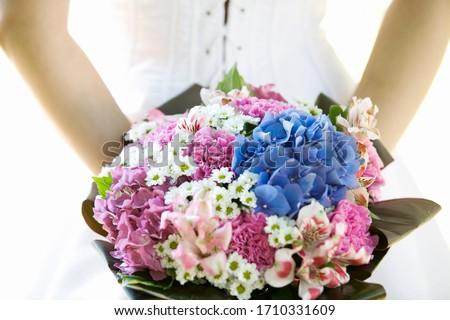 A colorful bridal bouquet, close up