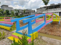 A Colorful Bridge Under The Blue Sky, Bridge On Waterpark