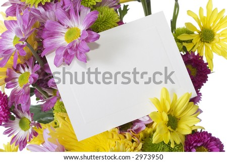 A colorful bunch of fresh spring flowers isolated on white background with blank note card to add your message