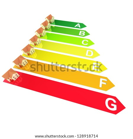 A Colorful 3d Rendered Housing Energy Rating Concept Illustration