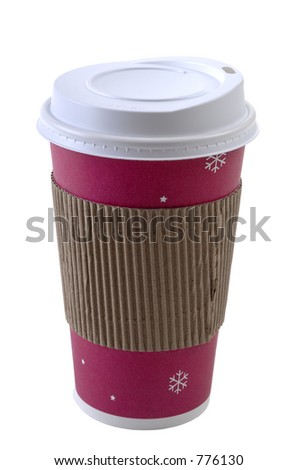 A colorful disposable coffee cup with safety cardboard collar. Super isolation. Focus= front plane of cup. 12MP camera.