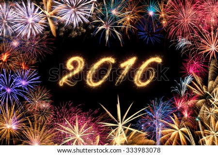 A colorful fireworks border  on a black background with sparkling text 2016.