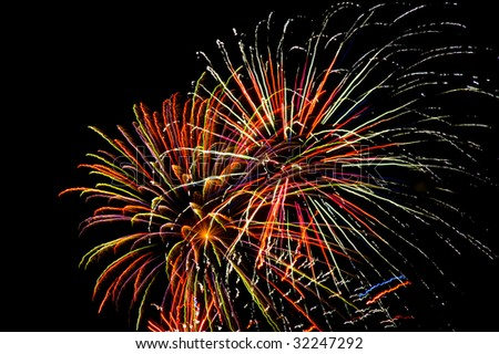 A colorful fireworks display, horizontal with copy space
