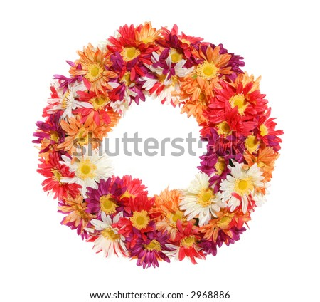 A colorful flower wreath isolated over a white background