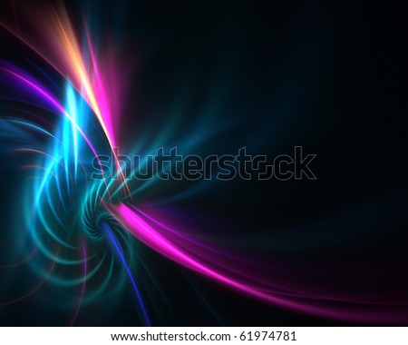 A colorful fractal backdrop with abstract glowing lines of plasma and copy space.