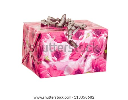 A colorful gift isolated on white background