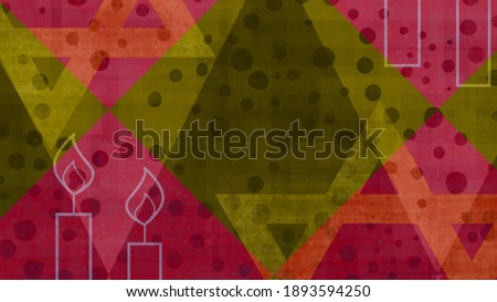 A colorful Jewish illustration for Shabbat and Hanukkah with a pair of lit candles and a large Star of David in the background, in vivid and festive shades of pink, orange and green. Foto stock ©