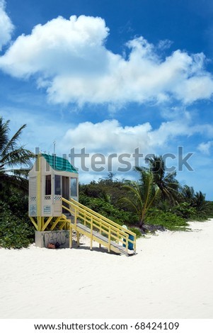 A colorful lifeguard tower at Flamenco beach located on the Puerto Rican island of Culebra.