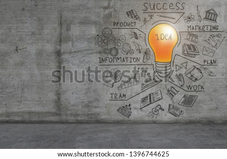 Business ideas sketch drawn on light wall Images and Stock