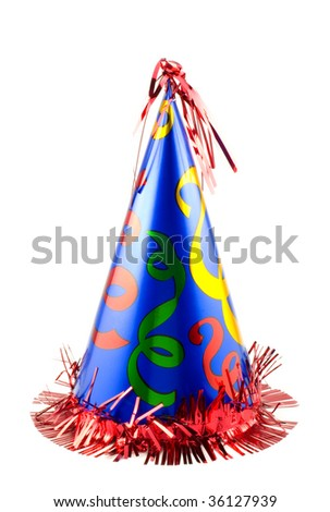 A colorful party hat isolated on white, vertical with copy space