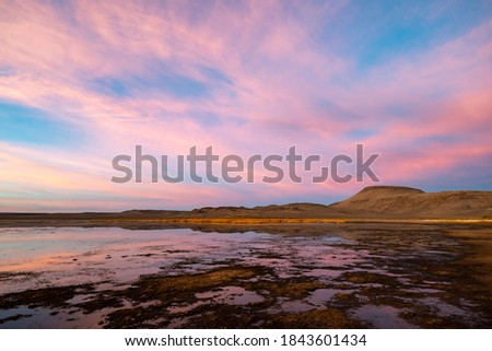 Photo of  A colorful pink sunset at Big Spring Reservoir in Sheldon National Wildlife Refuge, Washoe County, Nevada, USA