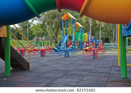 A colorful playground in a public park.