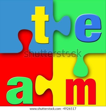 A colorful puzzle with the letters of the word team successfully fitting together