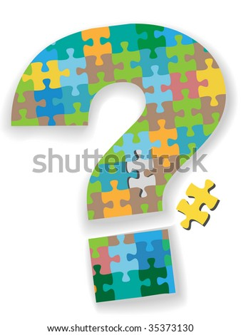 A colorful question mark jigsaw puzzle with missing piece as a symbol of your search solution.