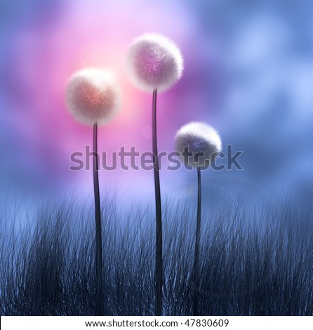 A colorful representation of three Dandelion flowers.  (High-resolution computer render.)