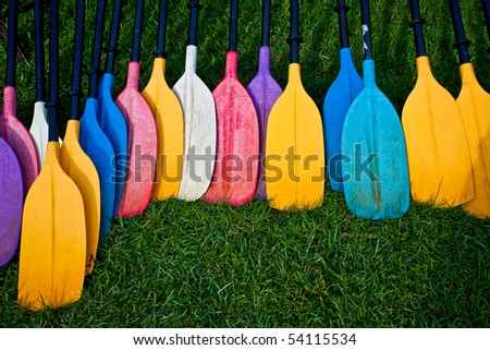 A colorful set of paddle