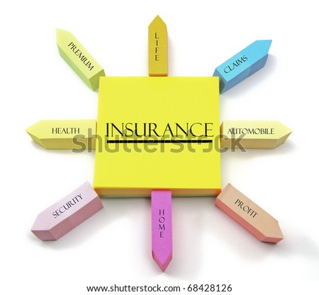 A colorful sticky note arrangement shows an insurance concept with health, life, auto, home, premium, claims, profit, and security labels. - stock photo