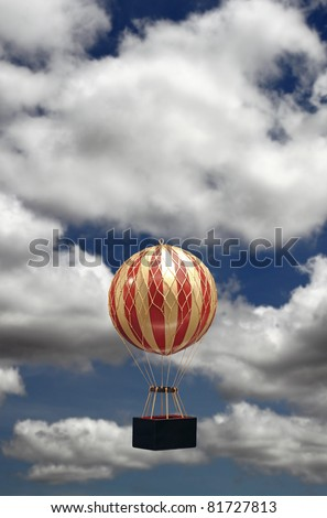 A colorful striped old-fashioned helium balloons taking off against a cloudy blue summer sky with copyspace for text.