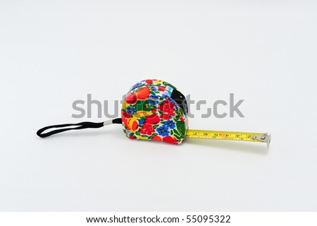 A colorful tape measure isolated on a white background