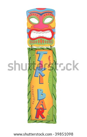 A colorful tiki bar mask and sign isolated over white