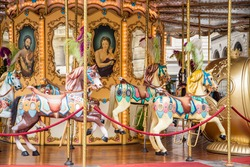 A colorful, traditional merry-go-round in Florence, Italy
