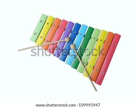 a colorful, wooden xylophone with mallet over white