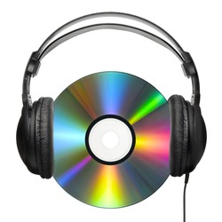 A colorfully reflecting CD with professional headphones put on it