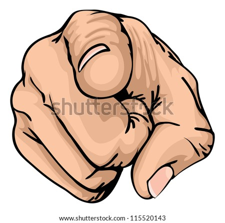 a colour illustration of a human hand with the finger pointing or gesturing towards you. - stock photo