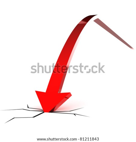 A Colourful 3d Rendered Falling Red Arrow Illustration