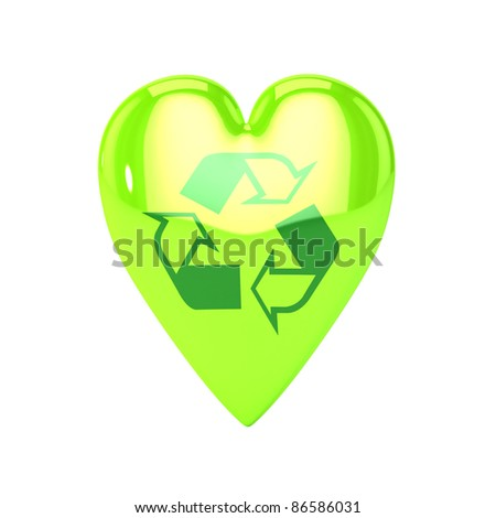 A Colourful 3d Rendered Love Recycling Heart Illustration - stock photo