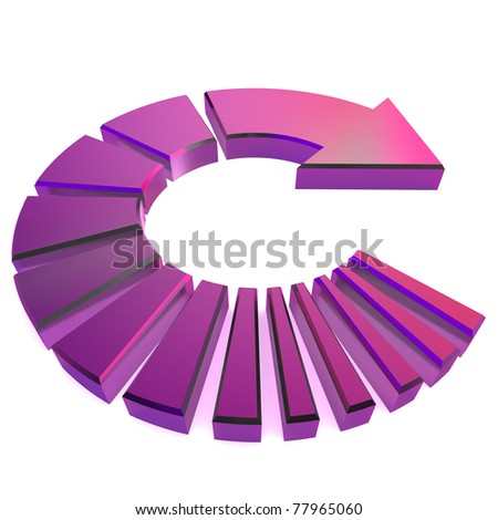 A Colourful 3d Rendered Purple Circular Arrow Illustration