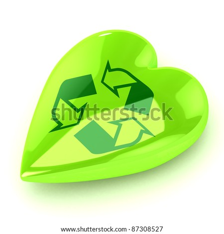 A Colourful 3d Rendered Recycle Heart Illustration