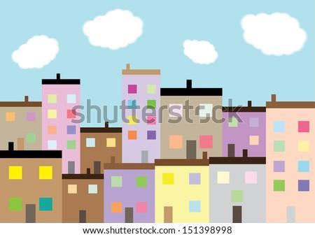 A Colourful Housing Estate - stock photo